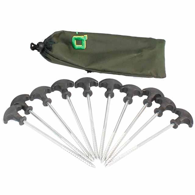 Image of ten long metal pegs with screw thread and plastic black curved handles, laid out next to a small green bag.