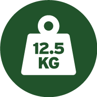 Green and white icon of a weight with 12.5 kilograms written on it, telling you the approximate weight of each drum of this paint.