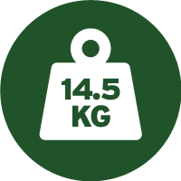 Green and white icon of a weight with 14.5 kilograms written on it, telling you the approximate weight of each drum of this paint.