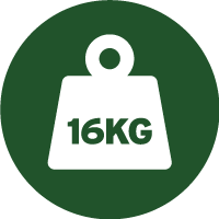 Green and white icon of a weight with 16 kilograms written on it, telling you the approximate weight of each drum of this paint.