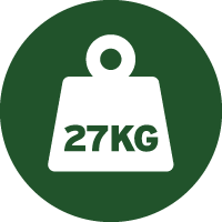 Green and white icon of a weight with 27 kilograms written on it, telling you the approximate weight of this machine as supplied in a box.