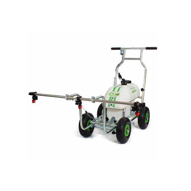 Image a metal four wheeled Eco Pro line marking machine, with a one metre bar raised across the front with 3 sprayheads on for spraying chemicals.
