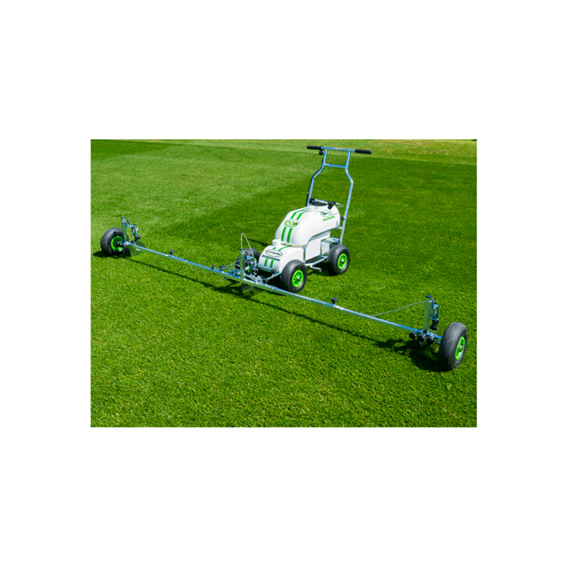 Image a metal four wheeled Eco Pro line marking machine, with a long thin attachment on the front. The attachment has wheels at each end and three sprayhead and nozzle assemblies for spraying paint.