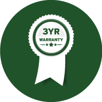 Green and white icon of a ribbon with the words '3-year Warranty' written on it, indicating the length of warranty this machine is supplied with.