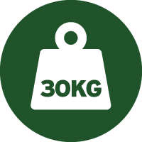 Green and white icon of a weight with 30 kilograms written on it, telling you the approximate weight of this machine as supplied in a box.