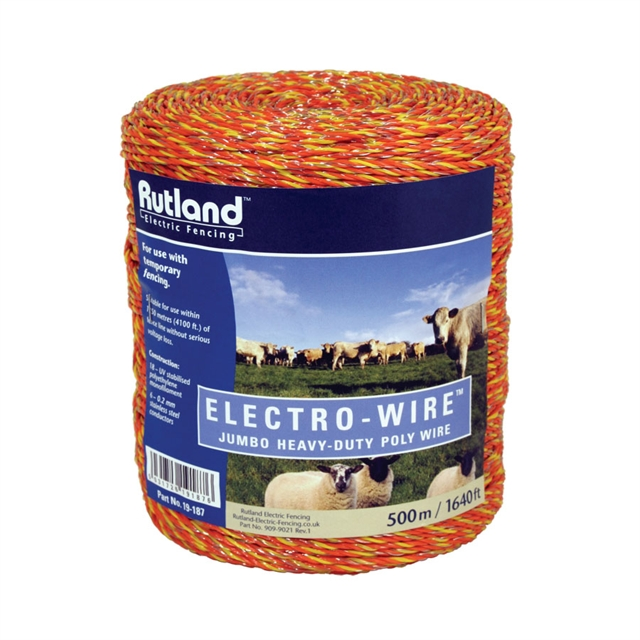 Image of a large pack of orange and yellow string, with the label stating 'Rutland Electro-Wire'.