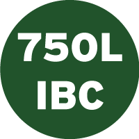 Green and white icon saying 750 litres and IBC, which represents that this product is also available in a large 750l industrial bulk container.