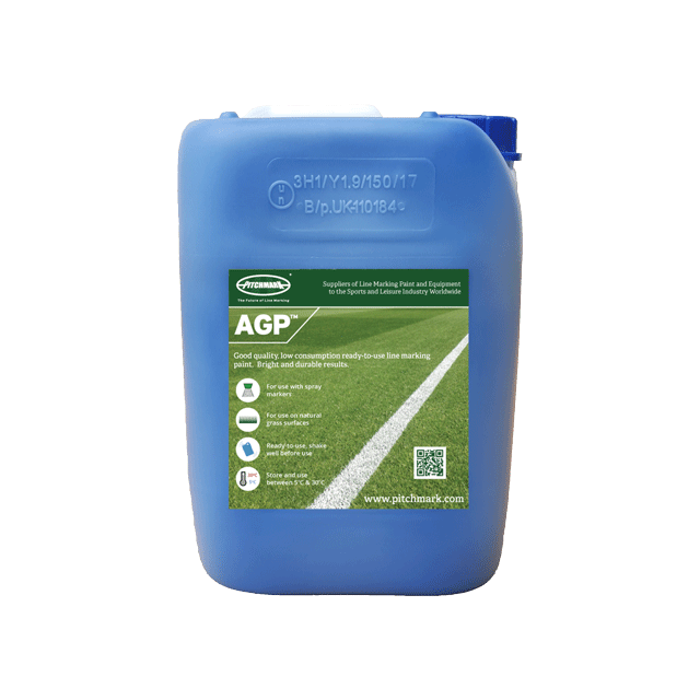 Image of a 10 litre plastic drum of AGP blue pitch marking paint for artificial grass.