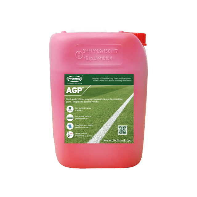 Image of a 10 litre plastic drum of AGP red pitch marking paint for artificial grass.