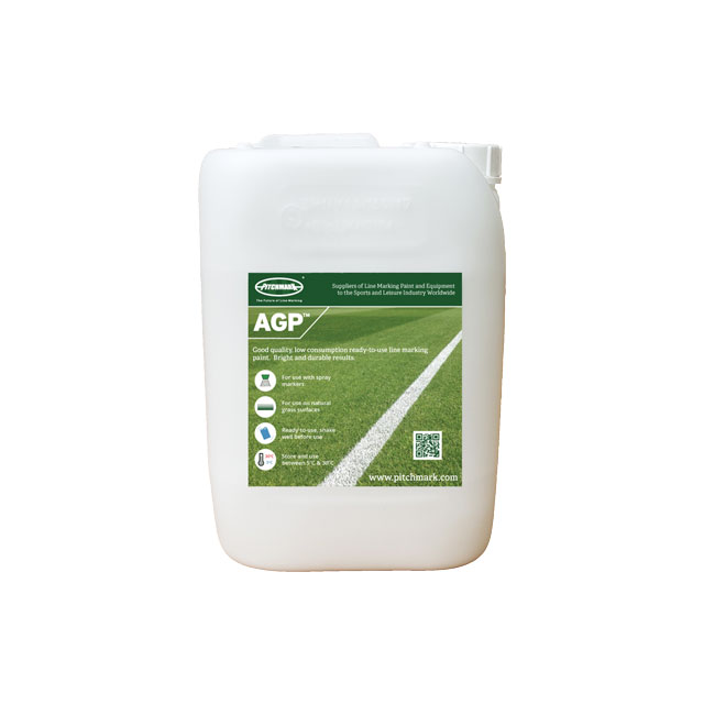 Image of a 10 litre plastic drum of Pitchmark's AGP (Artificial Grass Paint) ready-to-use line marking paint for artificial grass and hard surfaces.