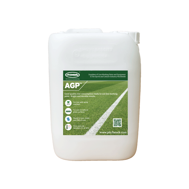 Image of a 10 litre plastic drum of AGP white pitch marking paint for artificial grass.