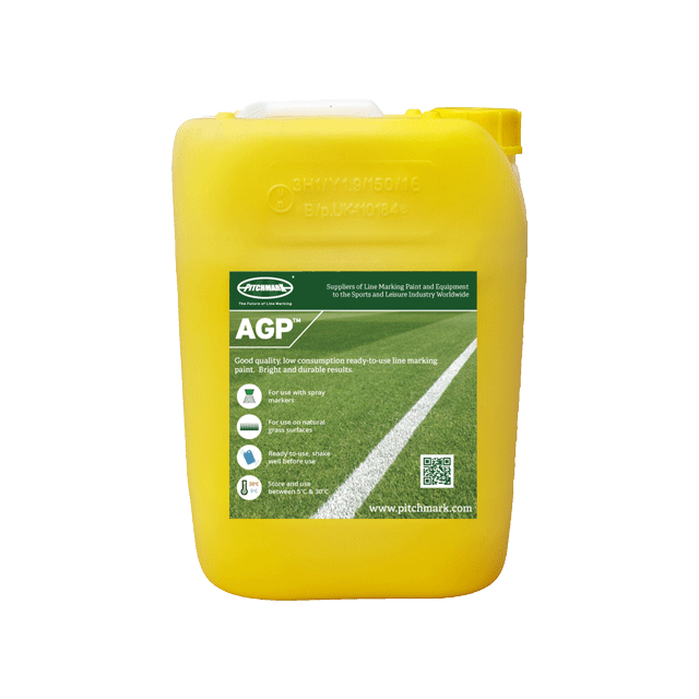 Image of a 10 litre plastic drum of AGP yellow pitch marking paint for artificial grass.