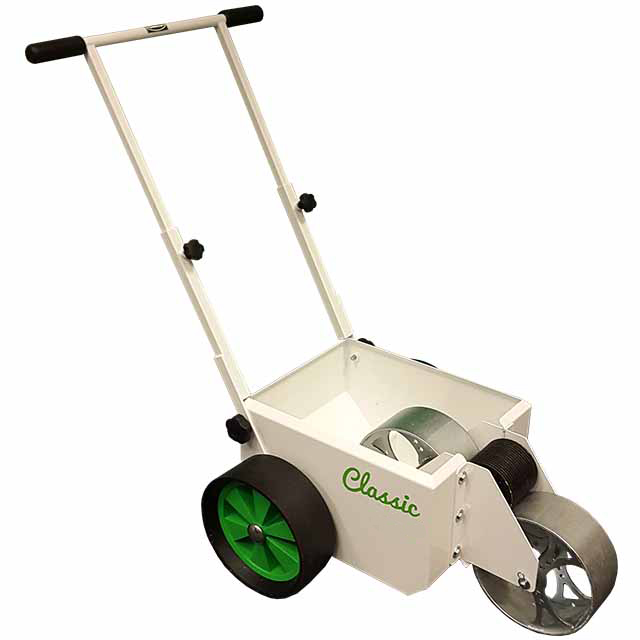 Image of a white, square bodied line marker, with two solid wheels at the back and a steel wheel at the front for transferring paint.
