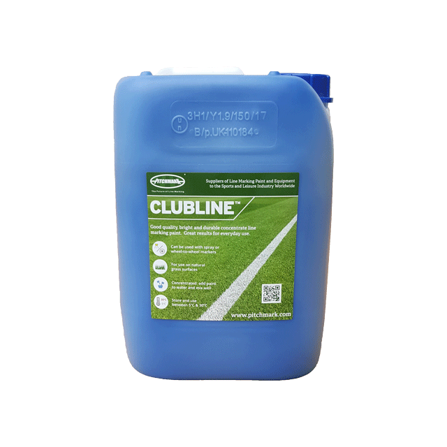 Image of a 10 litre plastic drum of Clubline blue line marking paint for natural grass pitches.