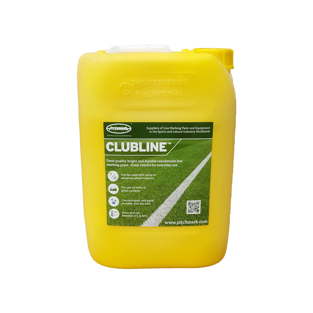 Image of a 10 litre plastic drum of Clubline yellow line marking paint for natural grass pitches.