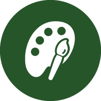 Green and white icon showing a colour palette to represent that this paint is available in various colours.