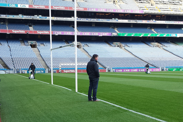 Mark Rodman, Managing Director of Pitchmark, on the pitch at Croke Park with two Hybrids in action.