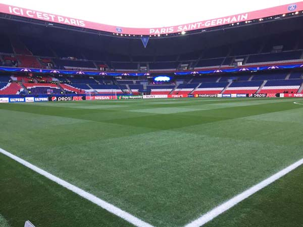 The Parc des Princes pitch marked out before a game.