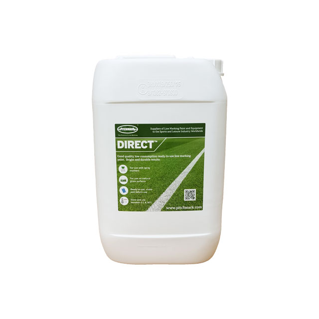 Photo of a white ten litre plastic drum of Direct grass line marking paint.