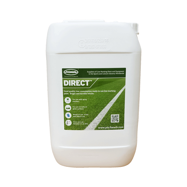 Image of a 10 litre plastic drum of Direct white line marking paint for natural grass pitches.