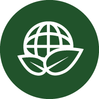 Green and white icon of a globe with leaves round it to represent the eco-friendly qualities of this product.