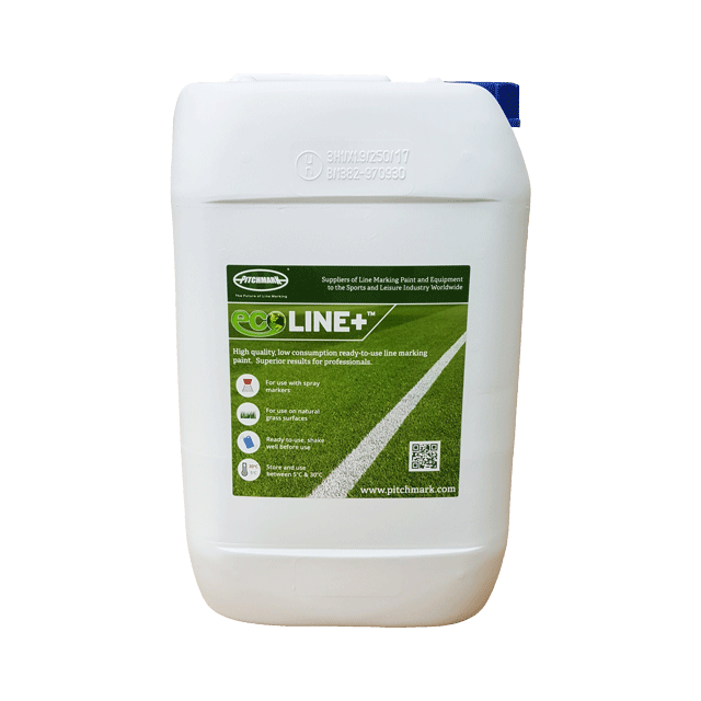 Image of a 10 litre plastic drum of Ecoline+ blue line marking paint for natural grass pitches.