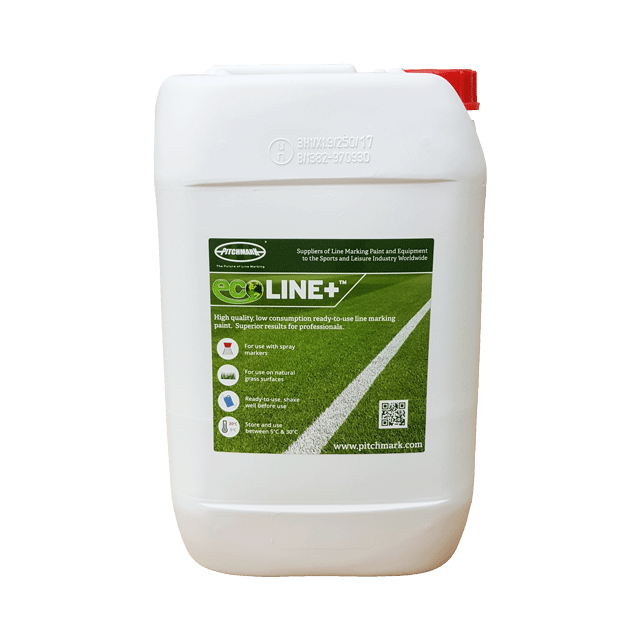 Image of a 10 litre plastic drum of Ecoline+ red line marking paint for natural grass pitches.