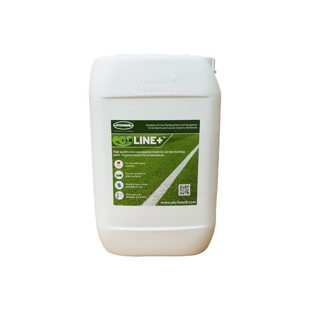 10 litre plastic drum of Pitchmark's Ecoline+ line marking paint for grass.