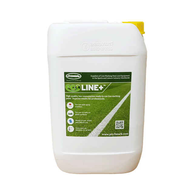 Image of a 10 litre plastic drum of Ecoline+ yellow line marking paint for natural grass pitches.