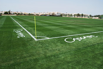Image of a grass football pitch marked out with Extreme paint at the Cascade Wellness and Lifestyle Resort, Lagos, Portugal.