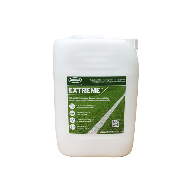 Image of a 10 litre plastic drum of Pitchmark's Extreme concentrate line marking paint for grass.
