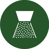 Green and white icon of a nozzle spraying liquid droplets, representing this machine being a spray marker.