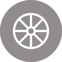 Icon of a spoked wheel to indicate for transfer wheel-to-wheel markers.