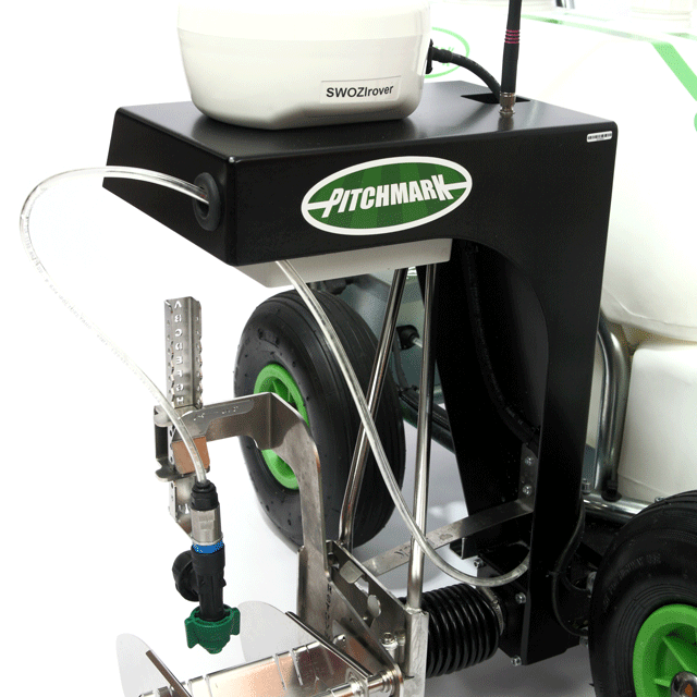 Close up image of the front of the LineMaster GPS unit, showing the GPS receiver, sprayhead assembly and actuator arm.