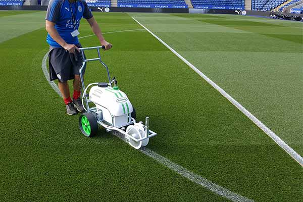 Photo of Hybrid line marker on the pitch at the King Power Stadium, home of Leicester City Football Club.