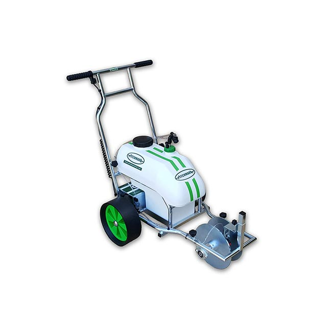 Image of a three-wheeled Hybrid spray line marker, with tubular metal chassis and white plastic tanks.