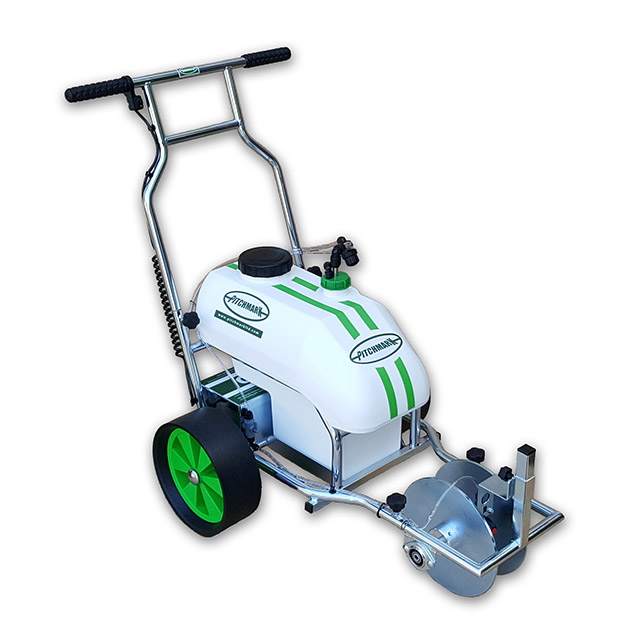 Image of a three-wheeled Hybrid spray line marker, with a white plastic moulded tank and tubular steel chassis and handlebars.