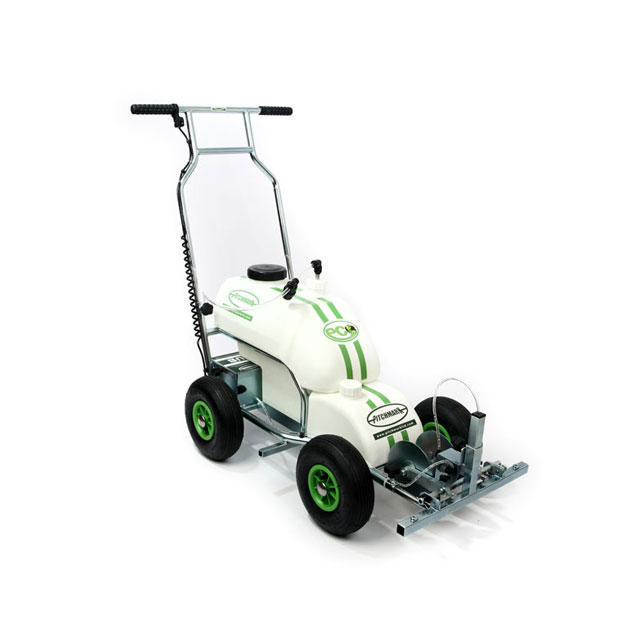 Image of a four-wheeled Eco Pro spray line marker, with tubular metal chassis and white plastic tanks.