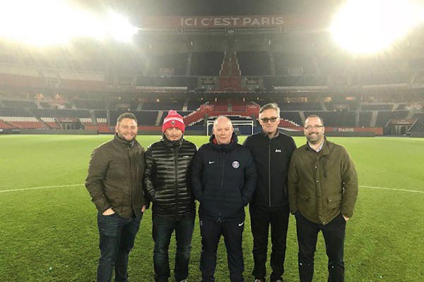 Olly Boys with Dave Blanchard from PitchWorks, and Jonathan Calderwood of PSG, along with representatives of ICL and Syngenta.