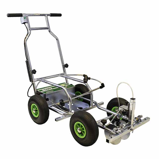 Image of a four-wheeled Eco Club spray line marker, with tubular metal chassis and handlebars.
