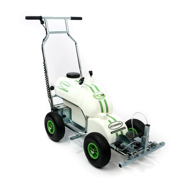 Image of a four-wheeled Eco Pro spray line marker, with white plastic moulded tanks and tubular steel chassis and handlebars.