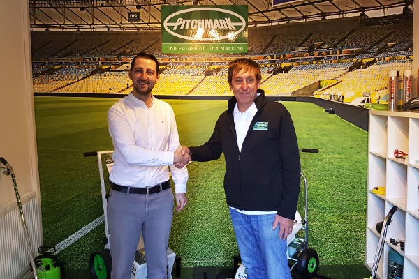 Alex McCombie, the newest Technical Sales Manager for Pitchmark, here pictured with General Manager Tim Rodman.