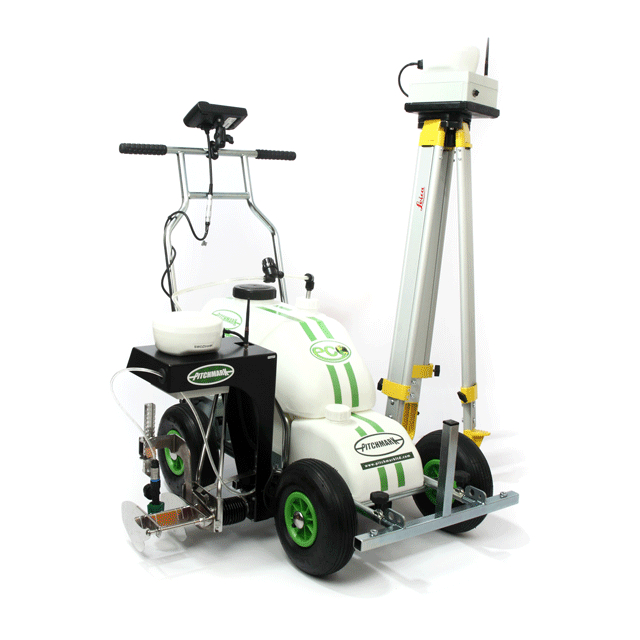 Image of a four-wheeled Eco Pro spray line marker, with a black LineMaster system fixed to the side, and large yellow metal tripod stood up behind it.