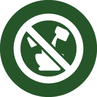 Green and white icon of liquids being poured into a container with a no entry sign through, representing that this paint is ready-to-use and should not be diluted.