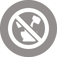 Icon of two liquids being poured into a container with a no entry sign through it all, indicating this is a ready-to-use paint that should not be diluted or mixed with water.