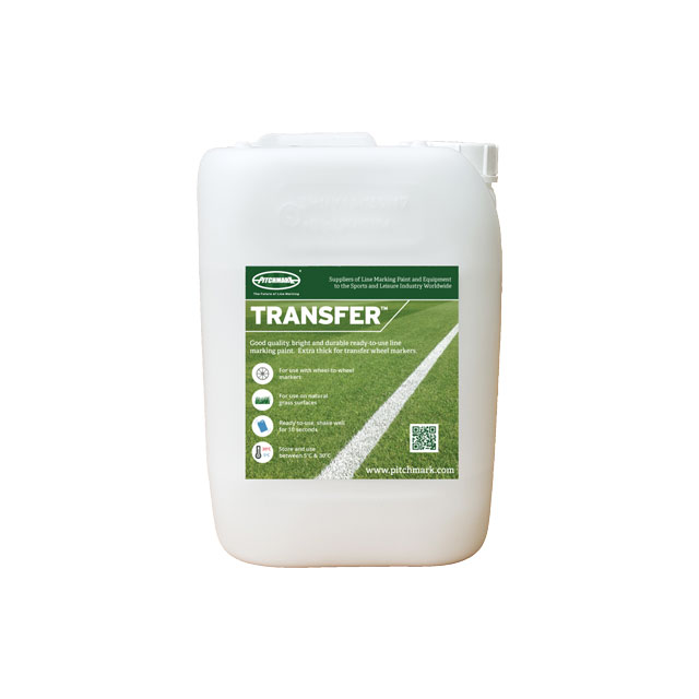 Image of a 10 litre plastic drum of Pitchmark's Transfer ready-to-use line marking paint for grass.