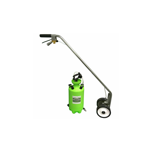 Image of a long, thin handheld metal line marker, with two small wheels at the bottom and a 6-litre green plastic pump up bottle.