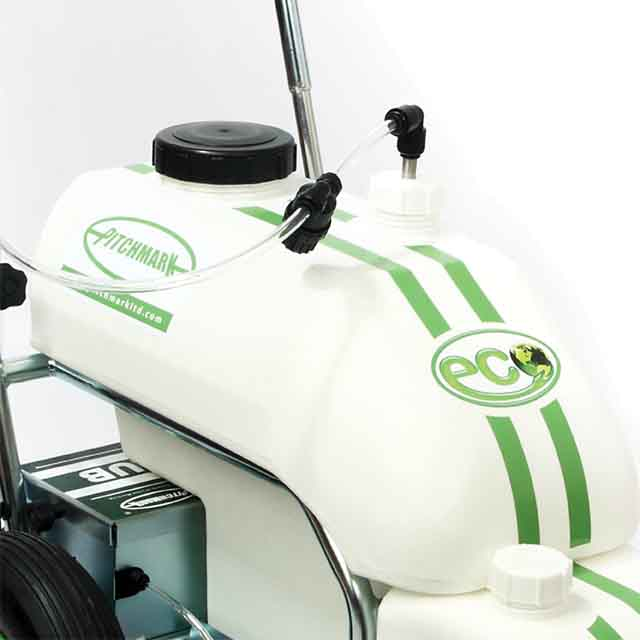 Close up of the 25 litre white moulded paint tank located in the middle of the Eco Pro spray marker.