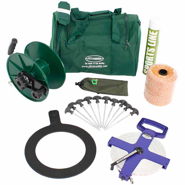Image of products laid out on a white background, including a green sports kit bag, white aerosol paint can, rubber circle, 10 metal pegs and large measuring tape.