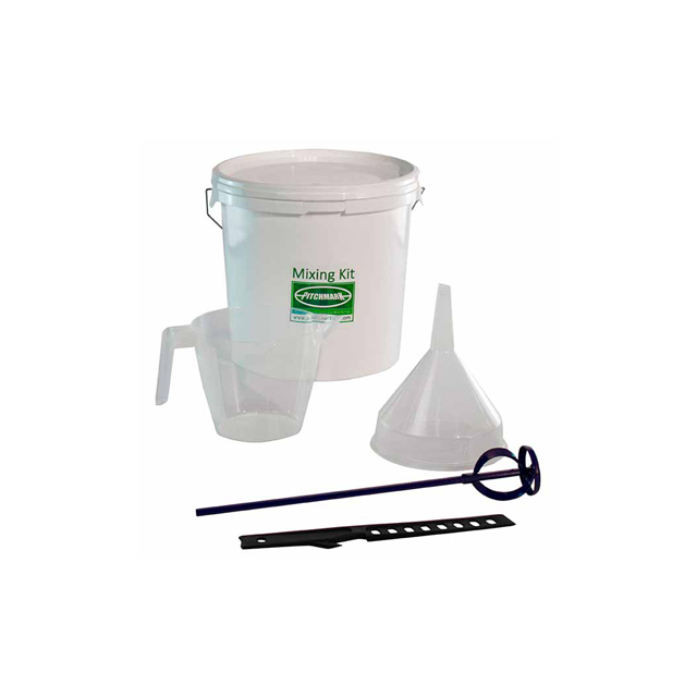 Image of a large white bucket with Pitchmark on, a clear 2 litre measuring jug and clear plastic funnel.